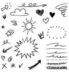 hand drawn set elements black on white vector image