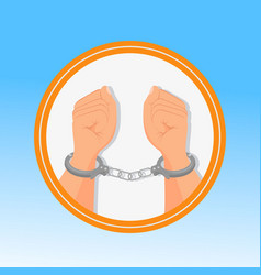 handcuffed hands fists flat vector image