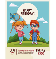happy birthday kids card vector image