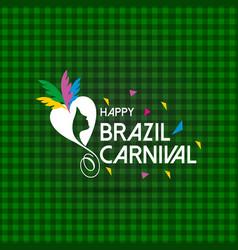Happy brazilian carnival day creative white vector