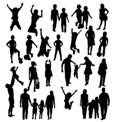 Happy Children Silhouettes vector image