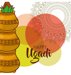 happy ugadi traditional festival hindu celebration vector image