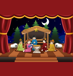 kids playing in christmas drama vector image