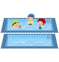 Kids swimming in swimming pool vector