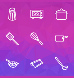 kitchenware icons line style set with zester salt vector image