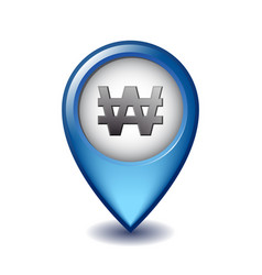 Korean won currency symbol on mapping marker vector