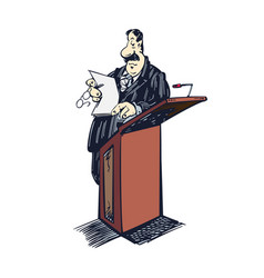 Lawyer cartoon clipart lawyer standing on table vector