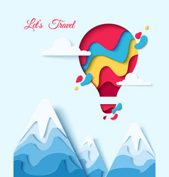 Lets travel paper art hot air balloon concept vector