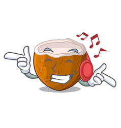 listening music cartoon beverage coconuts on the vector image