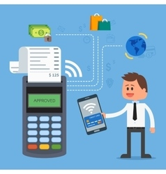 Mobile payments with smartphone Payment terminal vector image