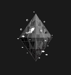 monochrome scuba diving sport emblem design vector image