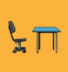 Office chair and table vector