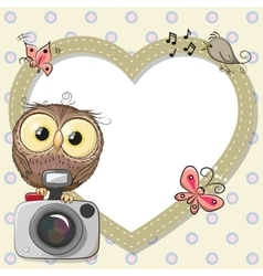 Owl with heart frame vector