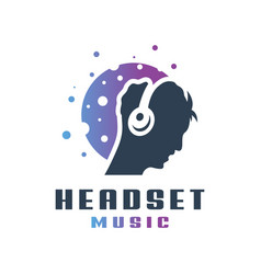 people wearing music headset logo vector image