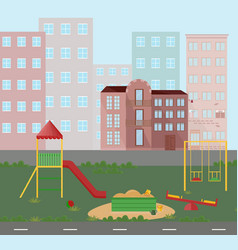 playground kindergarten city town views vector image