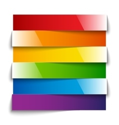 Rainbow shiny paper stripes banners with shadows vector image