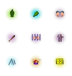 Robbery icons set pop-art style vector image