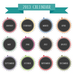 Round vintage calendar 2013 vector