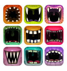 Scary mouth icons app icon set for game logo vector