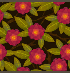 Seamless abstract floral pattern red on black for vector