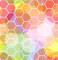 Seamless honeycomb and transparent dots pattern vector