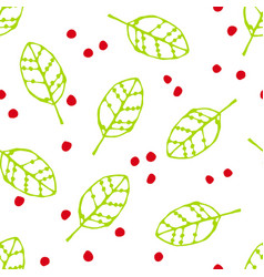 Seamless pattern with green leaves and red dots vector