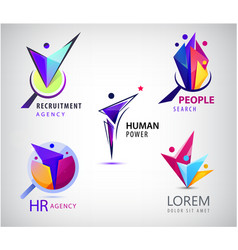 set human faceted people logo hr vector image