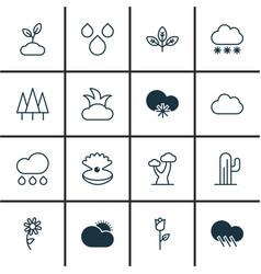 Set of 16 landscape icons includes love flower vector