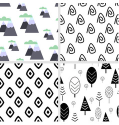 Set of seamless pattern in scandinavian style vector