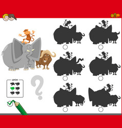 Shadows game with animal characters vector