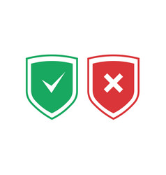 Shields with check mark and cross icons set red vector