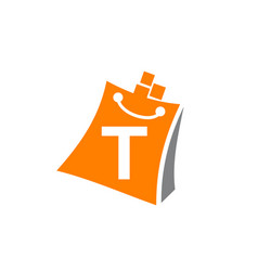 shopping online initial t vector image
