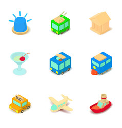 sightseeing tour icons set isometric style vector image