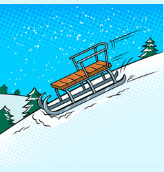 sledge slide down hill pop art vector image