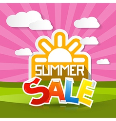 Summer Sale Background with Sun Meadow Hills Sky vector image