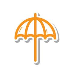 Thin line beach umbrella icon vector
