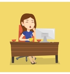 Tired employee working in office vector