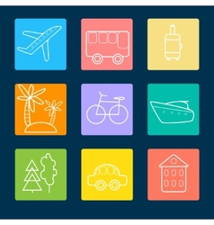 Travel flat icons stock vector image