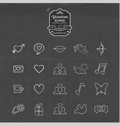Valentines and love hand drawn sketch icon set vector