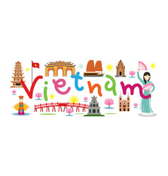 vietnam travel and attraction vector image