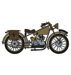 Vintage military motorcycle vector image