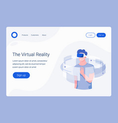 vr landing page template vector image