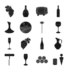Wine production set icons in black style Big vector image