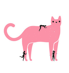 With a big pink cat and a group girls who vector