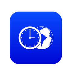 world planet with watch icon digital blue vector image