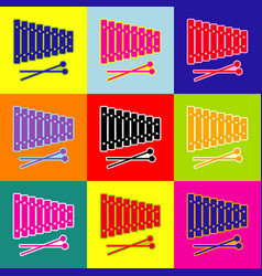 xylophone sign pop-art style colorful vector image