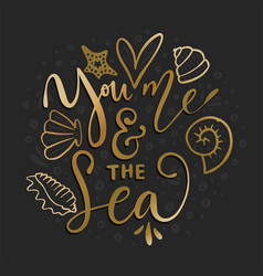 you me the sea card vector image