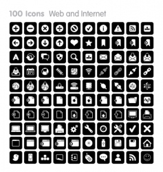 100 icons web and internet vector image