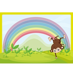 A dancing monkey and a rainbow vector image vector image