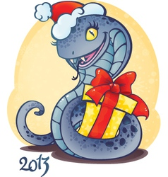 adorable little snake with Christmas gift vector image vector image